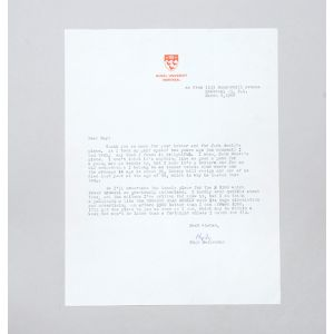Typed letter signed, on tennis.