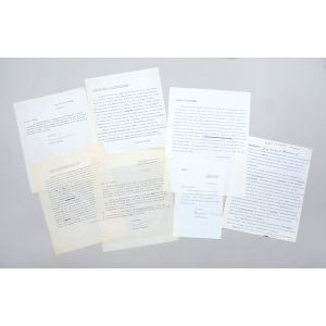 Four corrected typescripts for publication, and three typed letters signed.