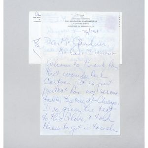 Autograph letter signed, thanking a journalist for a cartoon.