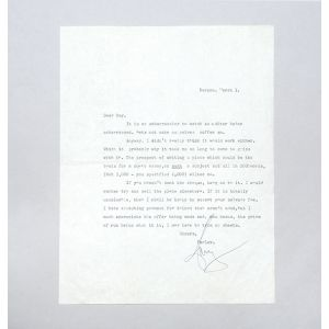 Typed letter signed, regarding an article.