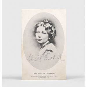 Photographic postcard signed by Christabel Pankhurst.