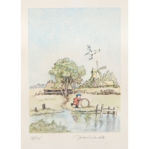 Boy with a Hoop by a River.
