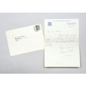 Autograph letter signed, the day before she was elected Leader of the Conservative Party.