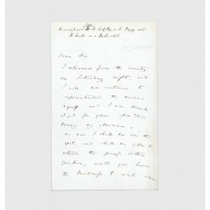 Autograph letter signed to Henry Colburn.