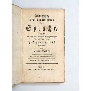Abhandlung über den Ursprung der Sprache, welche den von der Königl. Academie der Wissenschaften für das Jahr 1770 gesetzten Preis erhalten hat.