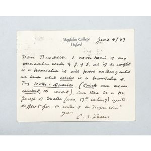 Autograph letter signed to Gerald Brodribb.