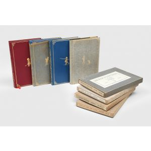 Complete set of the Winnie-the-Pooh books, in the deluxe leather bindings and original boxes.