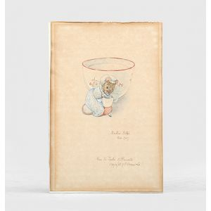 Original drawing of a mouse curtsying in front of a tea cup from the Tailor of Gloucester.