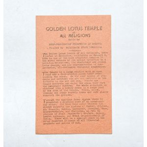 Golden Lotus Temple of All Religions.