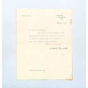 Typed letter signed to the sculptor Herbert Haseltine, commending his statue of George Washington.