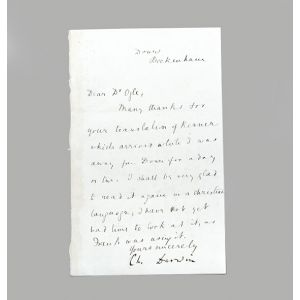 "Letter signed by Darwin (""Ch. Darwin""), the text in the hand of his wife Emma, to William Ogle."
