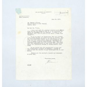 Typed letter signed to businessman Edward Filene, on the foundation of the capitalist system and the responsibility of businessmen.