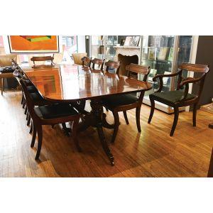 George IV mahogany dining table, with set of ten Regency mahogany chairs.