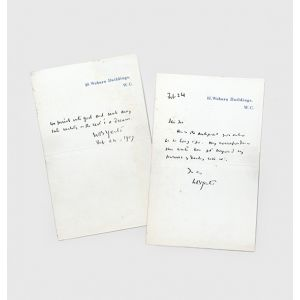 """Autograph letter signed and two-line quotation from """"The Hour-Glass""""."""