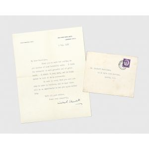 Typed letter signed to the sculptor Herbert Haseltine, thanking him for a sculpture.