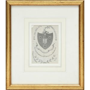 Framed engraved entrance ticket for the trial of Warren Hastings.