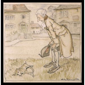 "Original watercolour from The Vicar of Wakefield. ""The Dog it was that Died"""