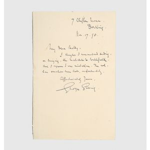 "Autograph letter signed to his sister Ellen (""My dear Nelly"")."