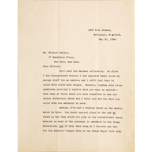 "Typed letter signed (""Scott"" in pencil) to Gilbert Seldes in New York."