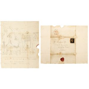 Autograph letter, with original captioned ink sketch, to Henry Ridgard Bagshawe.