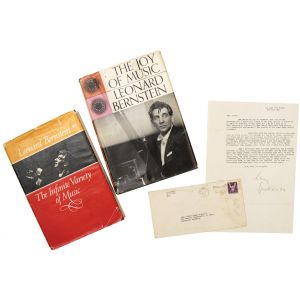 Typed letter signed to Renée Longy-Miquelle; with presentation copies of two of his books, The Joy of Music (1959) [and] The Infinite Variety of Music (1966).