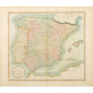 A NEW MAP OF SPAIN AND PORTUGAL DIVIDED INTO THEIR RESPECTIVE KINGDOMS AND PROVINCES.