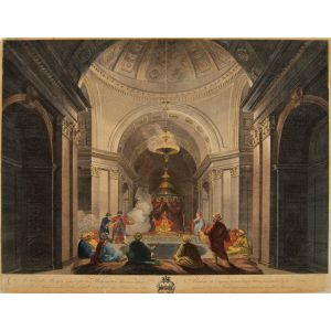 A Turkish Mosque lighted after the Mahometan Manner where Aladine the Emperor is seated on a Throne Surrounded by his Divan