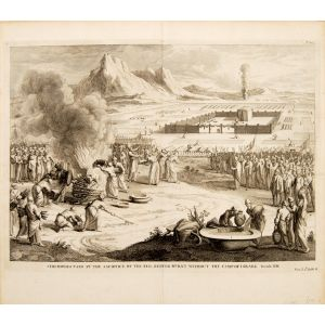 Ceremonies used at the Sacrifice of the Red Heiffer Burnt without the Camp of Israel.  Numb. XIX