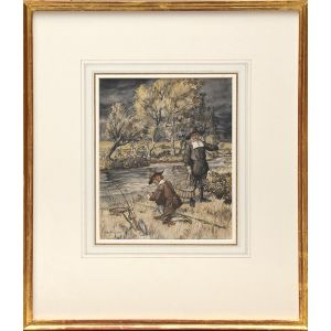 Original watercolour From Izaak Walton's The Compleat Angler.