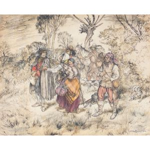 "Original watercolour From Izaak Walton's The Compleat Angler. ""A Gang of Gypsies""."