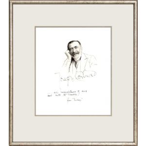Original portrait, ink on paper. Signed by the artist and inscribed by Conrad with a line from Victory.
