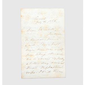 Autograph letter signed to Elizabeth Hoar.