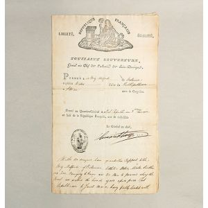 Ship Passport for the Brig Milford of Baltimore to load at Port Republicain, Santo Domingo, 1800