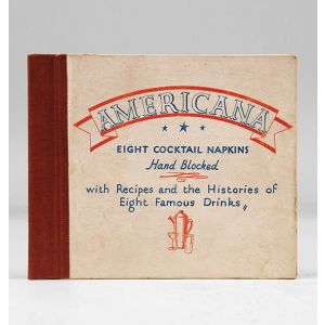 Eight Cocktail Napkins, Hand Blocked, with Recipes and the Histories of Eight Famous Drinks.