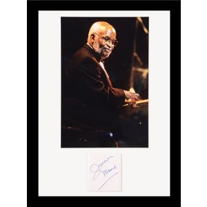 Coltrane, Monk, Bird and Pres - group of four autographed album leaves from the collection of Junior Mance.