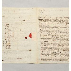 Magnificent autograph letter signed, to François Véron Duverger de Forbonnais.