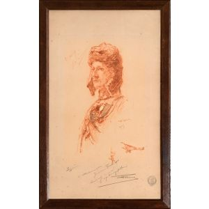 Inscribed Etched Portrait of the Most Famous French Ace of World War I.