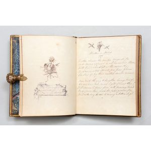 Manuscript volume of poetry with numerous pen, ink, and pencil vignettes.