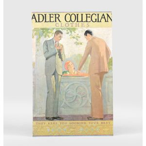 "Adler Suits Standee - ""Adler Collegian clothes. They keep you looking your best."""
