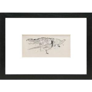 Original preliminary drawing of two pheasants amongst ferns.