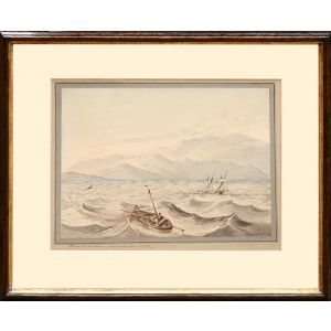 Original watercolour view of the coast of Jamaica with the Blue Mountains in the background and two fishing boats in the foreground.