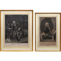Pair of engraved portraits of François Quesnay.