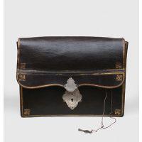 Superb large black leather concertina-form porte-feuille.