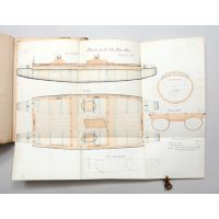 Ledger book containing 30 large ink and water-colour detail drafts of warship construction.