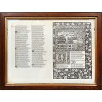 Proof sheet bifolium from the Kelmscott Chaucer.