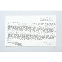 Typescript letter signed to Gerald Brodribb.