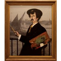 Portrait of James Abbott McNeill Whistler in front of the Thames.
